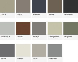 Colorbond ContemporaryColour Range for Metal Roofs